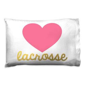 Girls Lacrosse Pillowcase - Heart with Gold Lacrosse