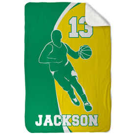 Basketball Sherpa Fleece Blanket Personalized Guy With Big Number
