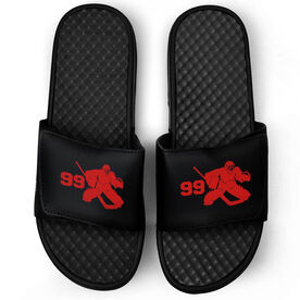 Hockey Black Slide Sandals - Goalie with Number