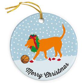 Basketball Porcelain Ornament Bailey The Basketball Dog with Christmas