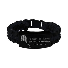 Tennis Paracord Engraved Bracelet - 3 Lines/Black