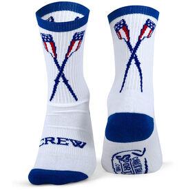 Crew Woven Mid Calf Socks - USA Crossed Oars (White/Blue)