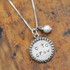 Sterling Silver Hand Stamped Curly Font Love to Crew Framed Pendant Necklace with Pearl