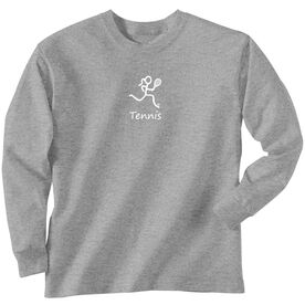 Tennis Tshirt Long Sleeve Tennis Girl White Stick Figure with Word