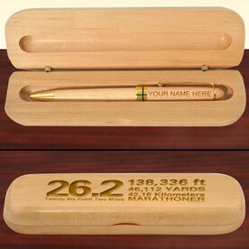 Engraved 26.2 Math Miles Wood Pen and Case