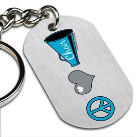 Peace Love Cheer Printed Dog Tag Keychain