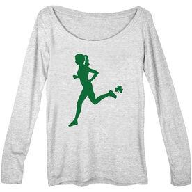 Women's Scoop Neck Long Sleeve Tee Female Runner WIth Shamrock