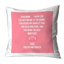 Football Throw Pillow - Dear Mom Heart