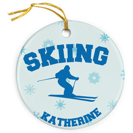 Skiing Porcelain Ornament With Skier
