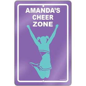 "Cheerleading 18"" X 12"" Aluminum Room Sign Personalized Cheer Zone"