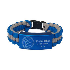 Volleyball Paracord Engraved Bracelet - 3 Lines/Blue