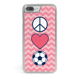 Soccer iPhone® Case - Peace Love Soccer with Chevron