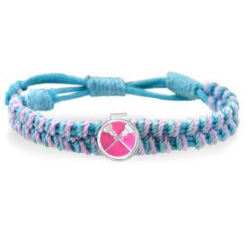 Lacrosse Crossed Sticks Enamel Pink Adjustable Woven SportSNAPS Bracelet