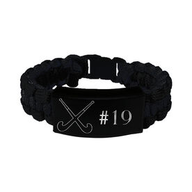 Field Hockey Paracord Engraved Bracelet - Field Hockey With 1 Line/Black