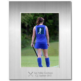 Engraved Field Hockey Frame Silver 5 x 7 with Field Hockey Icon