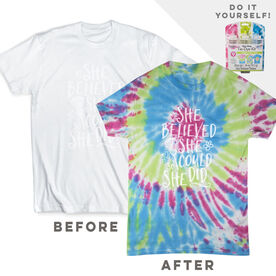 DIY Girls Lacrosse She Believed She Could - White Tee Ready for Tie-Dye