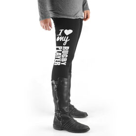 Rugby High Print Leggings I Heart My Rugby Player