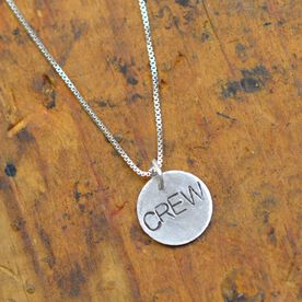 Sterling Silver Hand Stamped Block Font Crew Pendent