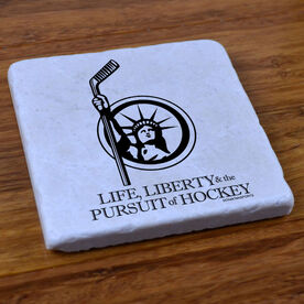 Life Liberty and the Pursuit of Hockey - Stone Coaster