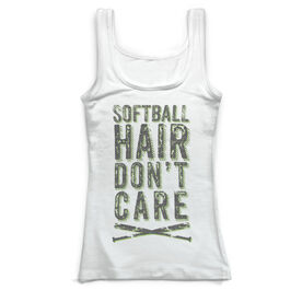 Softball Vintage Fitted Tank Top - Softball Hair Don't Care