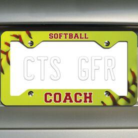 Softball License Plate Frame Softball Coach with Softball Stitches