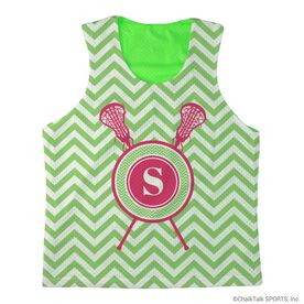 Girls Lacrosse Racerback Pinnie Single Letter Monogram with Crossed Sticks and Chevron