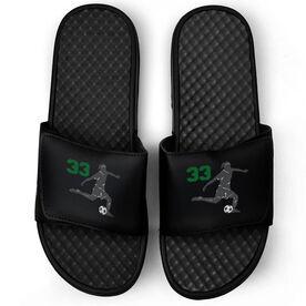 Soccer Black Slide Sandals - Girl Player with Number