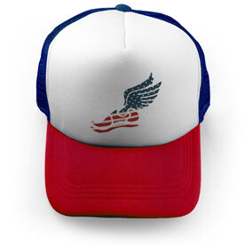 Track and Field Trucker Hat USA Winged Foot