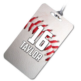 Baseball Bag/Luggage Tag Personalized Big Number with Baseball