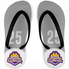 Softball Flip Flops Custom Team Logo