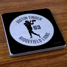 Football Stone Coaster Personalized Football Team with Wide Receiver Silhouette
