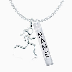 Sterling Hand Stamped Block Font Rec. Pendant and Sterling Stick Figure Runner Charm Necklace