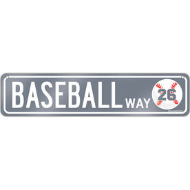 "Baseball Aluminum Room Sign Personalized Baseball Way (4""x18"")"