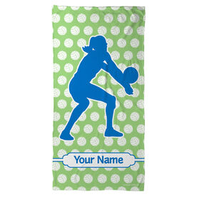 Volleyball Beach Towel Personalized Silhouette with Volleyball Background