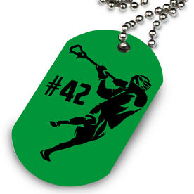 Guys Lacrosse Printed Dog Tag Necklace Personalized Overhand Rip