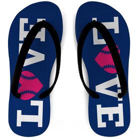 Softball Flip Flops Love