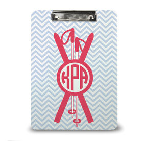 Skiing Custom Clipboard Monogram with Crossed Ski Poles and Chevron