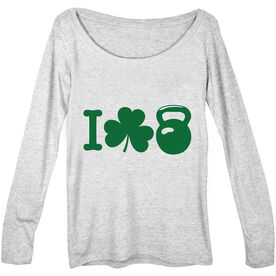 Women's Scoop Neck Long Sleeve Tee I Shamrock Kettlebell