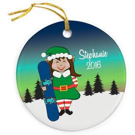 Snowboarding Porcelain Ornament Christmas Elf