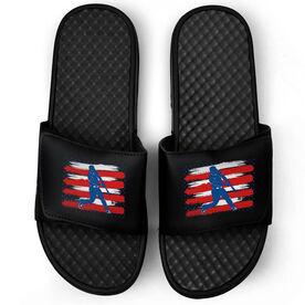 Baseball Black Slide Sandals - USA Batter Silhouette