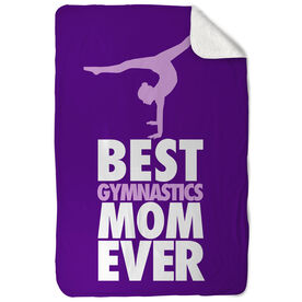Gymnastics Sherpa Fleece Blanket Best Mom Ever