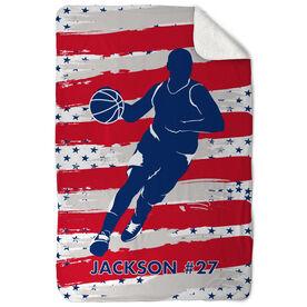 Basketball Sherpa Fleece Blanket USA Basketball