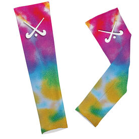 Field Hockey Printed Arm Sleeves Tie Dye Pattern with Field Hockey Sticks