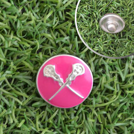 Lacrosse Crossed Sticks Enamel Pink SportSNAPS Charm