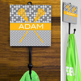 Guys Lacrosse Hook - Personalized 2 Tier Patterns With Crossed Sticks