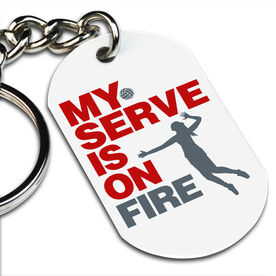 Volleyball Printed Dog Tag Keychain My Serve Is On Fire