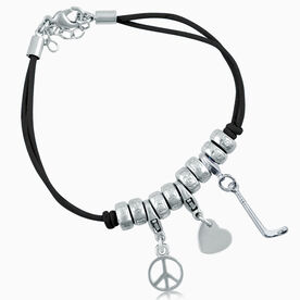 Peace Love Hockey Silver Charm Bracelet