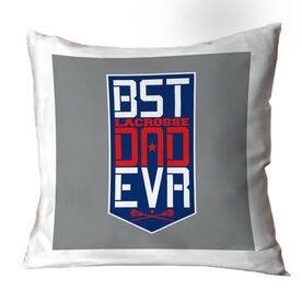 Guys Lacrosse Throw Pillow - Best Dad Ever Shield