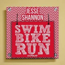 Personalized Swim Bike Run (Stacked) Wall BibFOLIO® Display