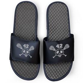 Lacrosse Navy Slide Sandals - Sticks & Skull with Number